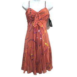 Eva Blue Maxi Dress Orange Sequins Size 10 NWT